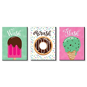 Sweet Shoppe - Kids Bathroom Rules Wall Art - 7.5 x 10 inches - Set of 3 Signs - Wash, Brush, Flush