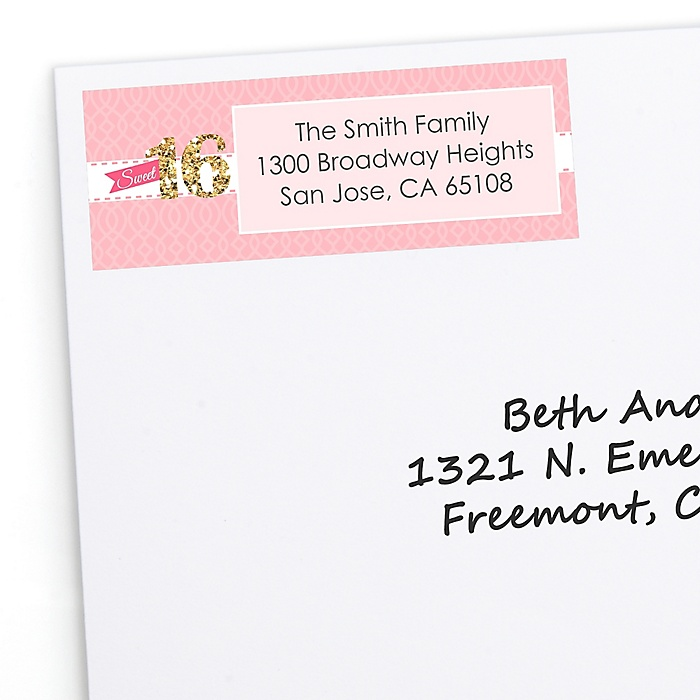 Sweet 16 - Personalized Birthday Party Return Address Labels - 30 ct