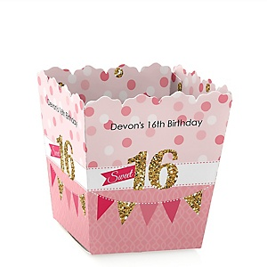 Sweet 16 - Party Mini Favor Boxes - Personalized Birthday Party Treat Candy Boxes - Set of 12