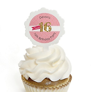 Sweet 16 - Personalized Birthday Party Cupcake Pick and Sticker Kit - 12 ct