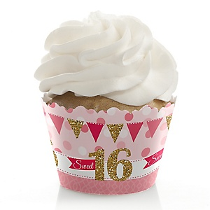Sweet 16 - Birthday Decorations - Party Cupcake Wrappers - Set of 12