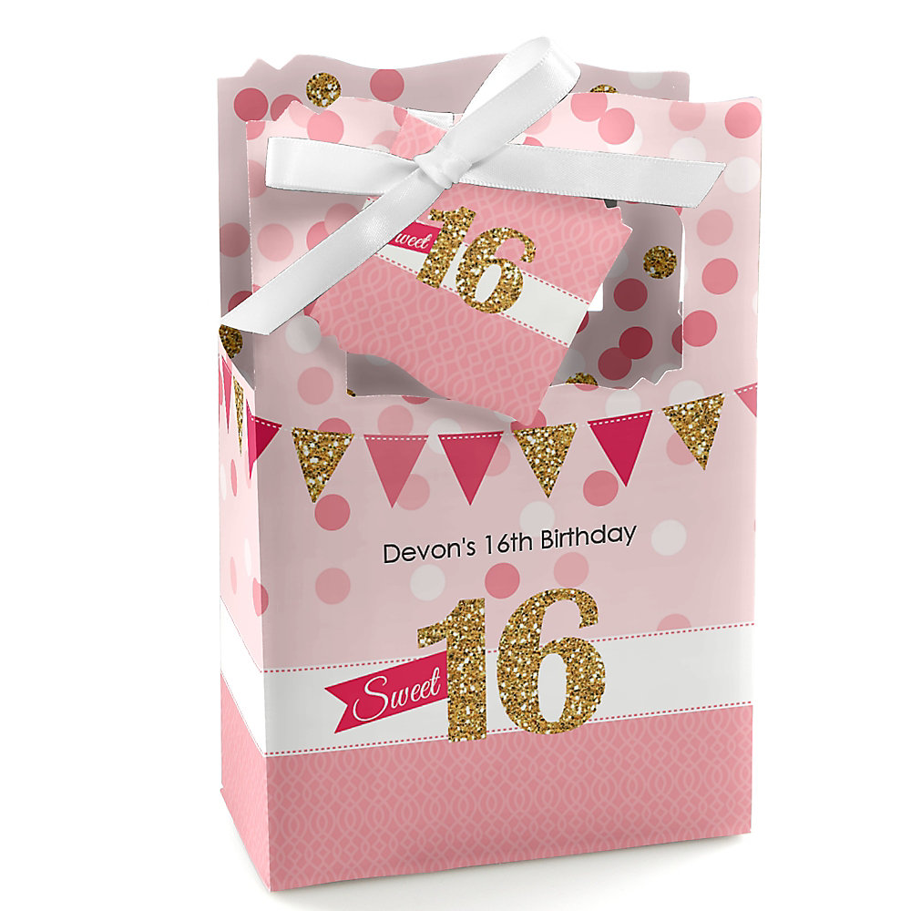 Sweet 16 Personalized Birthday Party Favor Boxes Set Of 12