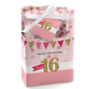 Sweet 16 - Personalized Birthday Party Favor Boxes - Set of 12