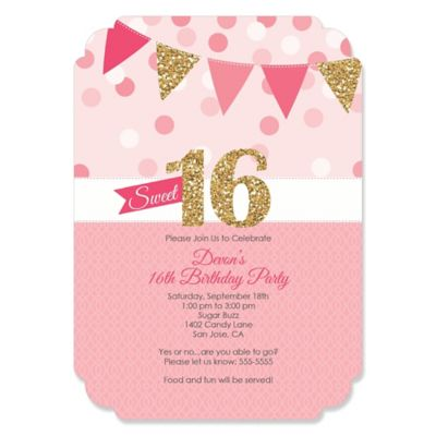 Sweet 16 Personalized Birthday Party Invitations