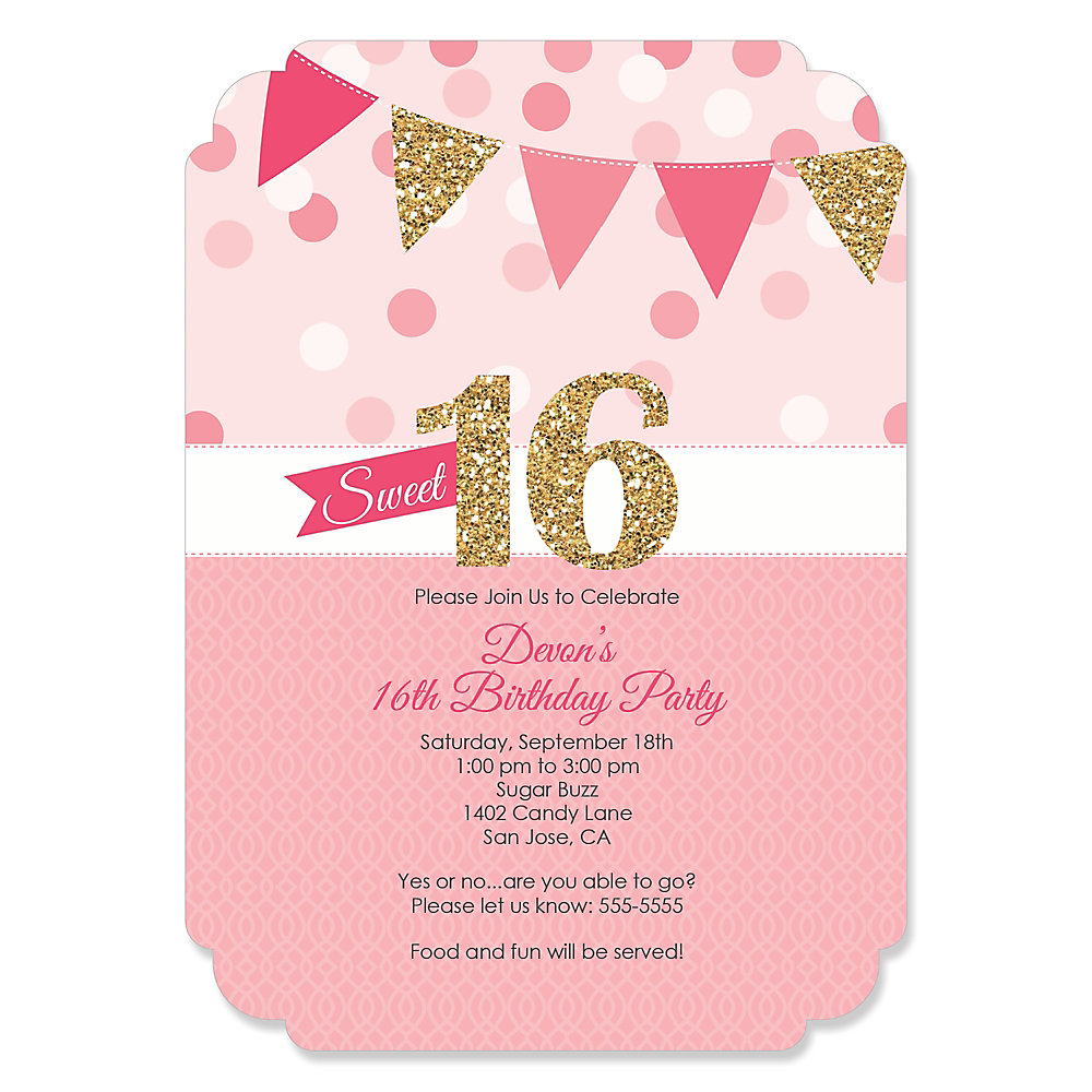 Sweet 16 personalized birthday party invitations loading solutioingenieria