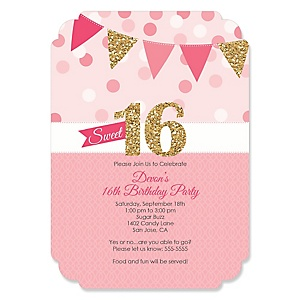 Sweet 16 - Personalized Birthday Party Invitations - Set of 12