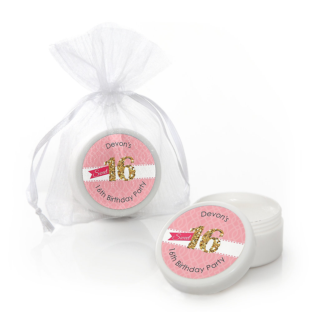 Sweet 16 Personalized Birthday Party Lip Balm Favors Set Of 12
