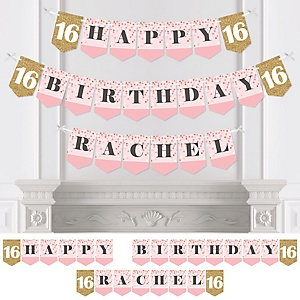 Sweet 16 - Personalized 16th Birthday Party Bunting Banner & Decorations