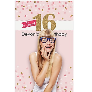 "Sweet 16 - 16th Birthday Party Personalized Photo Booth Backdrops - 36"" x 60"""