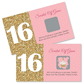 Sweet 16 - Birthday Party Scratch Off Cards - 22 ct