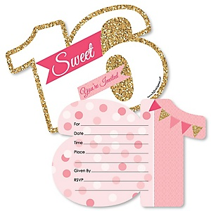Sweet 16 - 16th Birthday - Shaped Fill-In Invitations - 16th Birthday Party Invitation Cards with Envelopes - Set of 12