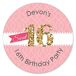 Sweet 16 - Personalized Birthday Party Sticker Labels - 24 ct