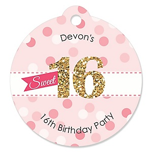 Sweet 16 - Personalized Birthday Party Tags - 20 ct