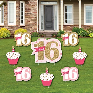 Sweet 16 - Yard Sign & Outdoor Lawn Decorations - 16th Birthday Party Yard Signs - Set of 8