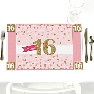 Sweet 16 - Party Table Decorations - Birthday Party Placemats - Set of 12