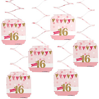 Sweet 16 Birthday Party Hanging Decorations 6 Ct