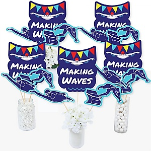 Making Waves - Swim Team - Swimming Party or Birthday Party Centerpiece Sticks - Table Toppers - Set of 15