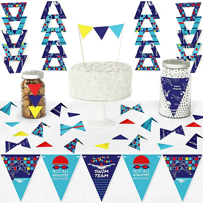 Making Waves - Swim Team - DIY Pennant Banner Decorations - Swimming Party or Birthday Party Triangle Kit - 99 Pieces