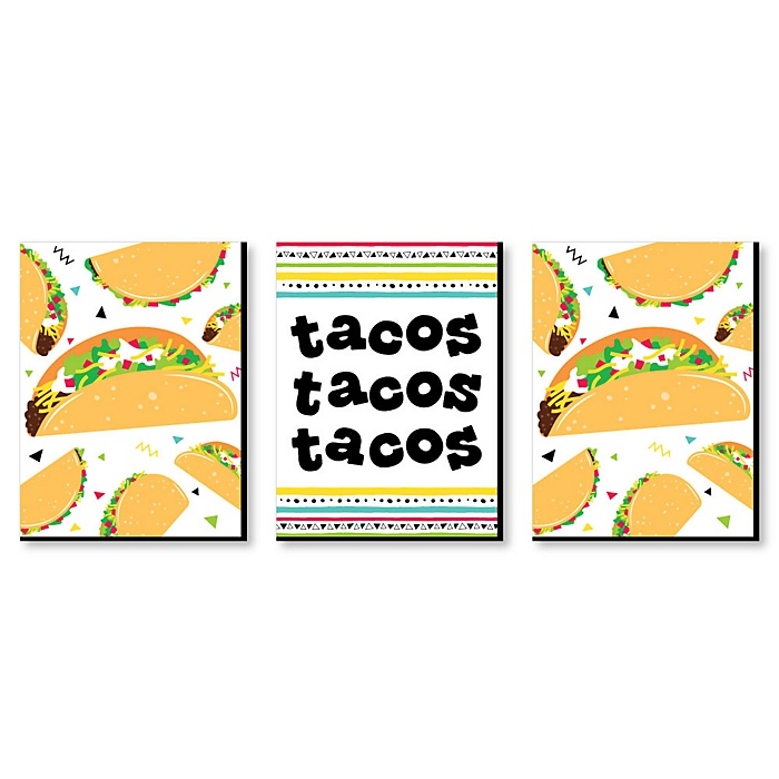 Taco 'Bout Fun - Kitchen Wall Art and Mexican Restaurant Decor - 7.5 x 10 inches - Set of 3 Prints