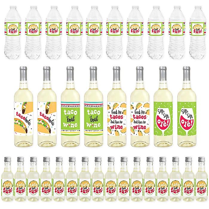 Taco 'Bout Fun - Mini Wine Bottle Labels, Wine Bottle Labels and Water Bottle Labels - Mexican Fiesta Decorations - Beverage Bar Kit - 34 Pieces
