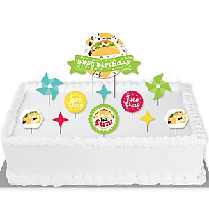 Taco 'Bout Fun - Mexican Fiesta Birthday Party Cake Decorating Kit - Happy Birthday Cake Topper Set - 11 Pieces