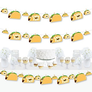 Taco 'Bout Fun - Mexican Fiesta DIY Decorations - Clothespin Garland Banner - 44 Pieces