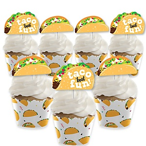 Taco 'Bout Fun - Cupcake Decoration - Mexican Fiesta Cupcake Wrappers and Treat Picks Kit - Set of 24