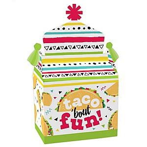 Taco 'Bout Fun - Treat Box Party Favors - Mexican Fiesta Goodie Gable Boxes - Set of 12