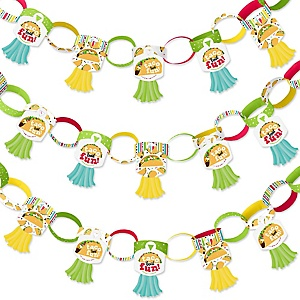Taco 'Bout Fun - 90 Chain Links and 30 Paper Tassels Decoration Kit - Mexican Fiesta Paper Chains Garland - 21 feet