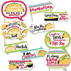 Funny Taco 'Bout Fun - 10 Piece Mexican Fiesta Photo Booth Props Kit