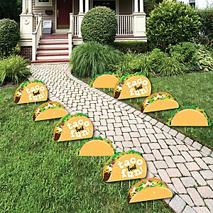 Taco 'Bout Fun - Lawn Decorations - Outdoor Mexican Fiesta Yard Decorations - 10 Piece