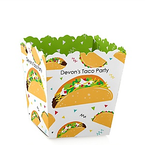 Taco 'Bout Fun - Party Mini Favor Boxes - Personalized Mexican Fiesta Treat Candy Boxes - Set of 12