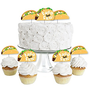 Taco 'Bout Fun - Dessert Cupcake Toppers - Mexican Fiesta Clear Treat Picks - Set of 24