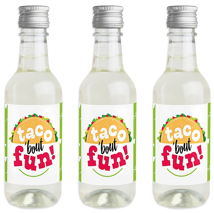 Taco 'Bout Fun - Mini Wine and Champagne Bottle Label Stickers - Mexican Fiesta Favor Gift - For Women and Men - Set of 16