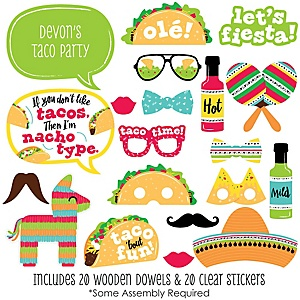 Taco 'Bout Fun - 20 Piece Mexican Fiesta Photo Booth Props Kit