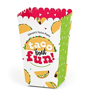 Taco 'Bout Fun - Personalized Mexican Fiesta Favor Popcorn Treat Boxes - Set of 12