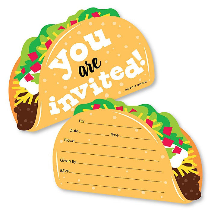 Taco 'Bout Fun - Shaped Fill-In Invitations - Mexican Fiesta Invitation Cards with Envelopes - Set of 12