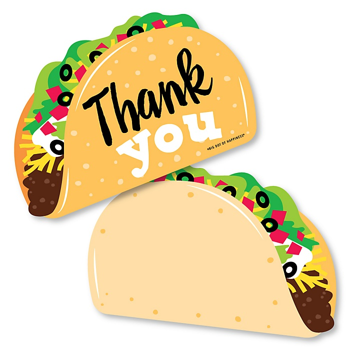 Taco 'Bout Fun - Shaped Thank You Cards - Mexican Fiesta Thank You Note Cards with Envelopes - Set of 12