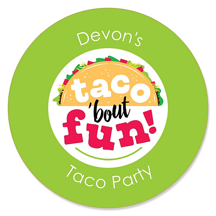 Taco 'Bout Fun - Mexican Fiesta Circle Sticker Labels - 24 ct