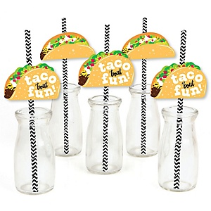 Taco 'Bout Fun - Paper Straw Decor - Mexican Fiesta Striped Decorative Straws - Set of 24