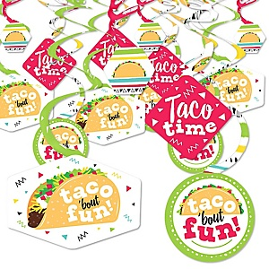 Taco 'Bout Fun - Mexican Fiesta Hanging Decor - Party Decoration Swirls - Set of 40