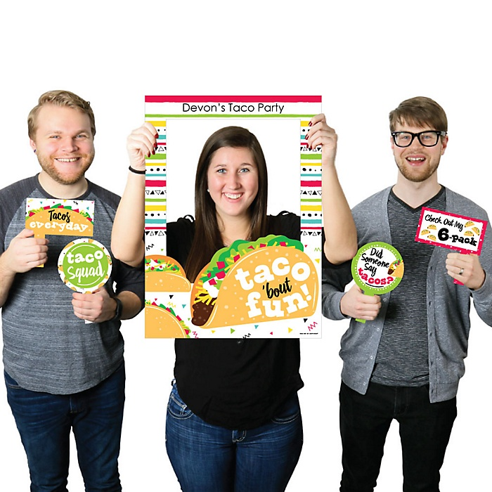 Taco 'Bout Fun - Personalized Mexican Fiesta Selfie Photo Booth Picture Frame and Props - Printed on Sturdy Material