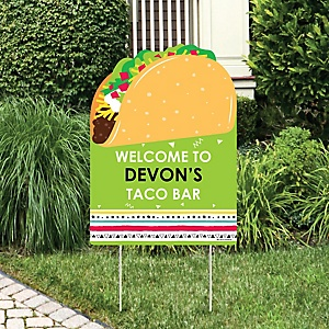 Taco 'Bout Fun - Party Decorations - Mexican Fiesta Personalized Welcome Yard Sign