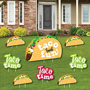 Taco 'Bout Fun - Yard Sign and Outdoor Lawn Decorations - Mexican Fiesta Yard Signs - Set of 8
