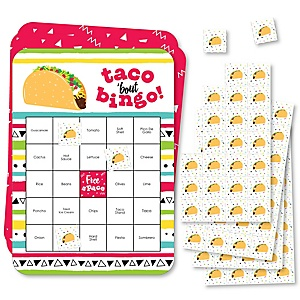 Taco 'Bout Fun - Bingo Cards and Markers - Mexican Fiesta Bingo Game - Set of 18
