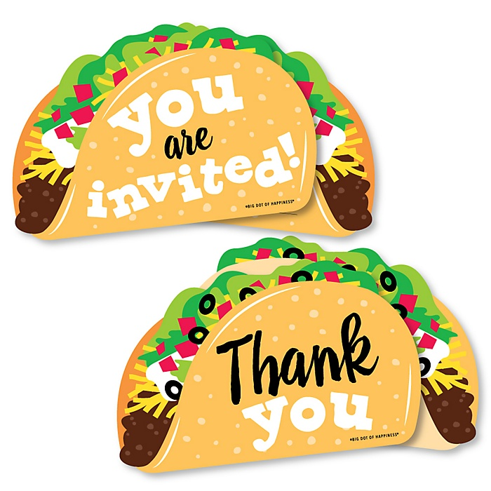 Taco 'Bout Fun - 20 Shaped Fill-In Invitations and 20 Shaped Thank You Cards Kit - Mexican Fiesta Stationery Kit - 40 Pack