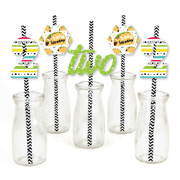 Taco Twosday - Paper Straw Decor - Mexican Fiesta Second Birthday Party Striped Decorative Straws - Set of 24