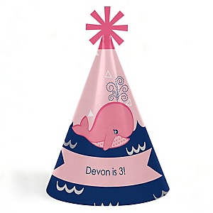 Tale Of A Girl Whale - Personalized Cone Happy Birthday Party Hats for Kids and Adults - Set of 8 (Standard Size)