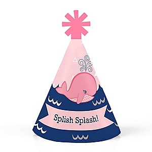 Tale Of A Whale Girl - Personalized Mini Cone Baby Shower or Birthday Party Hats - Small Little Party Hats - Set of 10