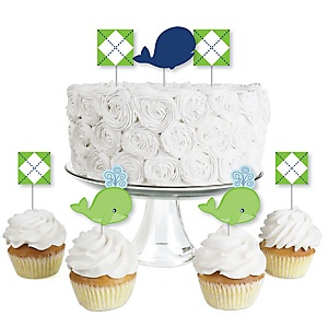 Tale Of A Whale - Dessert Cupcake Toppers - Baby Shower or Birthday Party Clear Treat Picks - Set of 24